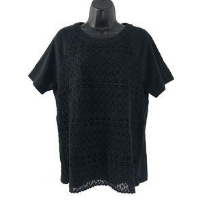 Madewell Large Crochet Mix Tee Black Short Sleeve